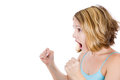 Frustrated angry young woman yelling at someone threatening him with fists close up side view portrait of a isolated on a white Royalty Free Stock Photography