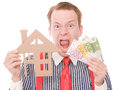 Frustrated business houseowner with money Royalty Free Stock Photo