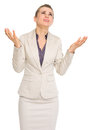 Frustrated business woman begging for help isolated on white Royalty Free Stock Photography