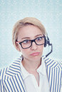 Frustrated call center representative on the white Royalty Free Stock Image