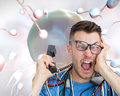 Frustrated computer engineer screaming while on call in front of open cpu composite image portrait Royalty Free Stock Photos