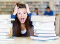 Frustrated female student Stock Photography
