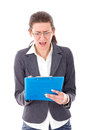 Frustrated female student preparing exams with glasses Royalty Free Stock Images