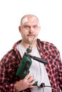Frustrated handyman Royalty Free Stock Image