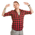 Frustrated Man with Hands Up Stock Images