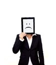 Frustrated Professional Holding a Digital Tablet Royalty Free Stock Images