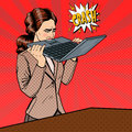 Frustrated Stressed Business Woman Biting Laptop in Office. Pop Art Royalty Free Stock Photo