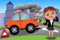 Frustrovaný žena zlomený auto