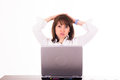 Frustrated woman in office Royalty Free Stock Photo