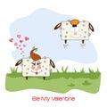 Fårvänner komisk illustration för valentin dag eller bröllop Royaltyfri Fotografi