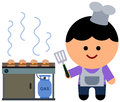 Fry cook an illustration of a man with a spatula frying burgers Royalty Free Stock Image