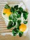fry eggs with basil