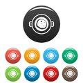 Fry food pan icons set color
