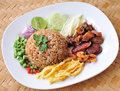 Fry rice with the shrimp paste Royalty Free Stock Images