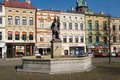 Frydek square fountain on in moravia czech republic Royalty Free Stock Photo