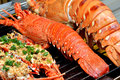 Frying boiled lobster dishes toast grill spicy special flavour taste china shown as amazing local aroma different cooking food Stock Photo