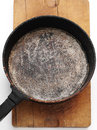 Frying pan old style on wooden plank Stock Photography