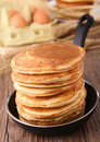 Frying pan with pancakes Stock Photos