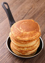 Frying pan with pancakes Stock Image