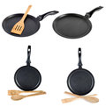 Frying pan set isolated on white Royalty Free Stock Images