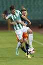 Ftc vs mtk otp bank league football match budapest august gabor gyomber of l is embranced by tibor ladanyi of during at Stock Images