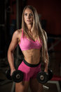 Ftiness woekout - Popular beautiful aoung woman workout in fitness gym, training body building for bikini fitness category Royalty Free Stock Photo