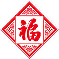 Fu character spring festival symbol the meaning good fortune or happiness is represented both as a chinese ideograph mounted are a Royalty Free Stock Photo