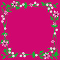 Fuchsia flower frame pink flowers and leaves on background illustration Royalty Free Stock Photo