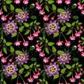 Fuchsia and Passiflora Seamless Pattern