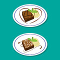 Fudge Brownie on dish with icecream, vector Royalty Free Stock Photo