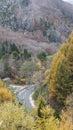 Fudo stream and the red bridge at Mount Nakano-Momiji Royalty Free Stock Photo