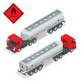 Fuel gas tanker truck isometric illustration. Truck with fuel 3d vector. Automotive fuel tanker shipping fuel. Oil Truck Royalty Free Stock Photo