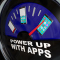 Fuel gauge apps smart phone full of applications a with needle pointing to a with a touch screen Stock Photos