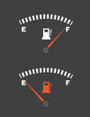 Fuel gauge full and empty Stock Images