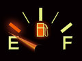 Fuel gauge low level indicator on Stock Image
