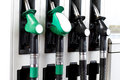 Fuel pumps at petrol station line up of Royalty Free Stock Photography