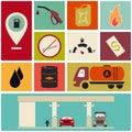 Fuel station icons. Retro color