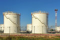 Fuel storage plant with big tanks used to store oil Royalty Free Stock Photo