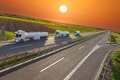 Fuel tank truck in motion blur on the highway at sunset Royalty Free Stock Photo