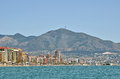 Fuengirola from sea view over the tourist destination in spain Royalty Free Stock Photos