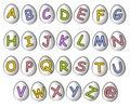 Fuentes 2 del huevo de Cartoonish Pascua del alfabeto Fotografía de archivo libre de regalías