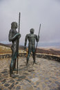 Fuerteventura - Bronze statues of two kings Ayose and Guise at the pass of Betancuria Royalty Free Stock Photo