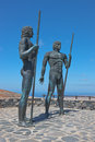 Fuerteventura statues ayose und guise above betancuria bronze of two kings and at the pass of Stock Images