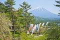 Fuji Mountain and Koi flag in the Japanese. Royalty Free Stock Photo
