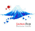 Fuji mountain shaped from origami birds Royalty Free Stock Image