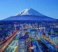 Fuji and yokohama skyline of mt japan Stock Photography