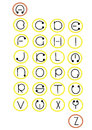 Full alphabet in wheels illustration Stock Photo