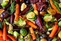 Full background of roasted autumn vegetables Royalty Free Stock Photo