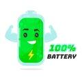 Full 100% battery character design. Vector flat cartoon illustration. Energy power concept