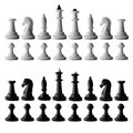 Full black and white chess set isolated on white Royalty Free Stock Photo
